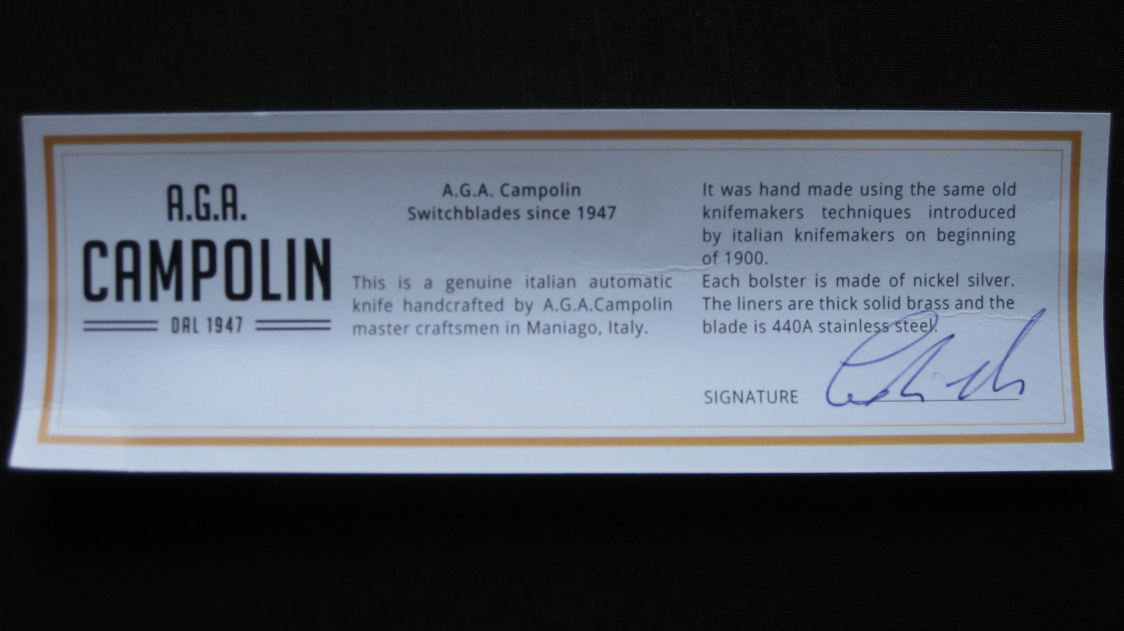 certificate of authenticity AGA Campolin